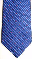 "Lee Geon Maan Men's Silk Tie 58.5"" X 3.25"" Blue w/ American Stripe & Red Symbols"