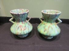 PAIR of VINTAGE DOVER POTTERY ART DECO FORM TWIN HANDLED VASES Some minor damage