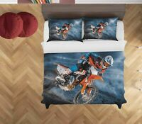 3D Extreme Motorcycle Quilt Cover Set Pillowcases Duvet Cover 3pcs Bedding 17