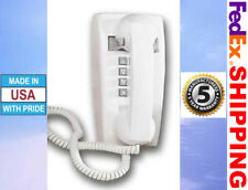 Retro White Push Button Corded Basic Wall Phone Telephone Vintage Style New
