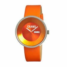 NEW Crayo CR0205 Unisex Bright Orange Large Round Leather Watch With Day & Date