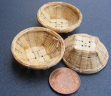 SCALA 1:12 Set di 3 cesti di bambù diametro 3.5 cm Casa Delle Bambole Accessorio alimentare BS