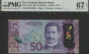 TT PK 194a 2016 NEW ZEALAND 50 DOLLARS SIR NGATA PMG 67 EPQ SUPERB GEM UNC!