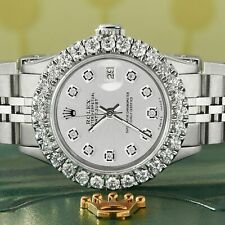 Rolex Datejust Steel 26mm Jubilee Watch 2CT Diamond Bezel / Silver Diamond Dial