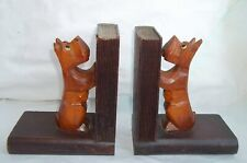 Antique Black Forest Carved Wood Scottie Dog Bookends w/ Glass Eyes Terrier