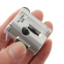 60x Fach Lupe Mikroskop Vergrösserung Juwelier Uhrmacher Glas mit LED+UV Licht