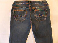 Silver Aiko Size 28 x 30 Distressed Bootcut Women's Jeans