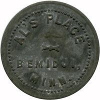 Al's Place Bemidji, Minnesota MN 5¢ Zinc Die Variety Trade Token