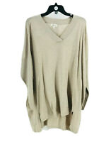 Style & Co. Women's Plus Beige Cotton Blend High Low V-Neck Sweater Size 1X NEW