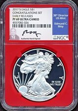 2017-S PROOF SILVER EAGLE  NGC PF69 SIGNED BY ED MOY EARLY RELEASE CONGRATS SET