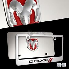 2pcs DODGE STRIPES 3D Stainless Steel License Plate Frame w/ caps - FRONT & BACK
