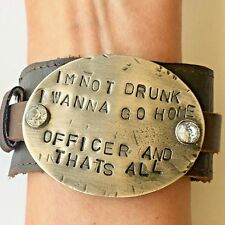 Wide Leather Bracelet Stamped Pewter Music Lyric Bling Handmade Drunk Officer