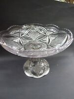 AUSTRALIAN  LARGE PRESSED GLASS COMPOTE  BOWL VINTAGE 1920'S VGC