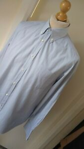 "Brunello Cucinelli Shirt Top Designer Mens Size  XL 16"" Collar Blue Purple Grey"