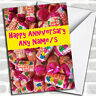 Love Heart Sweets Anniversary Customised Card