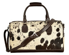 Men's New Large Real Cow Fur Brown Real Cow Hide Leather Weekend Holdall Bag