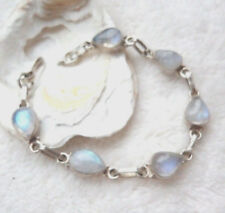 Handarbeit Massiv Silber Armband 19 cm Mondstein Tropfen Blau Grün Irisierend