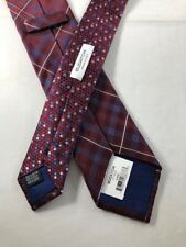 NEW BUGATCHI Silk Tie ~ $60 NWT Red Blue Silver Plaid Dot ITALY 3535