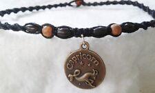 Capricorn Hemp Necklace Macrame Choker Handmade Bohemian Black Astrology