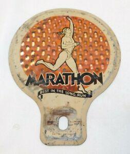 RARE old Marathon Gasoline Advertising Metal License Plate Topper
