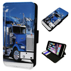 American Truck Blue Trucker - Flip Phone Case Wallet Cover Fits Iphone & Samsung