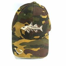 Reel Legends Camouflage Baseball Hat Fishing Embroidered Fish Lure Strapback