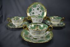 (4) Brown Westhead Moore Cauldon Green Leaves & Gold Bouillon Cups & Saucers