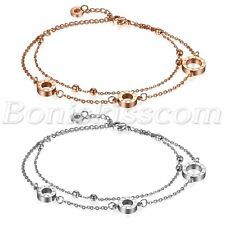 2pcs Women Stainless Steel Double Layer Charm Love Ring Bracelet Chain Anklet