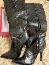 Paprika Black High Stiletto Heel Dress Boots. Sz 8