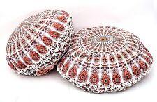 2 PC Round Mandala Floor Pillow Case Indian Handmade Boho Home Cushion Sham