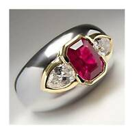 3Ct Cushion Cut Ruby Simulnt Diamond Bezel Engagement Ring White Gold Fns Silver