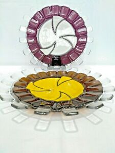 """BEAUTIFUL LARGE ART GLASS PLATES 12"""" CRANBERRY AND AMBER COLOUR"""