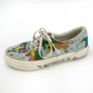 VANS X Save Our Planet Era Collab 2 Kids Lace Up Map Peace Canvas Sneakers