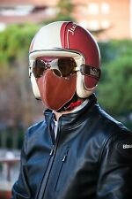 BARUFFALDI SUPER COMPETITION GOOGLES + HECTOR LEATHER FACE MASK BROWN CAFE RACER