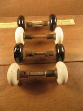 Lot of 8 (4 Sets) Old Antique 4 White & 4 Black Porcelain Door Knobs w Spindles