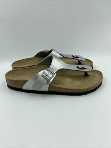 birkenstock Womens Gizeh Silver Thong Sandals Size 42 N , 594
