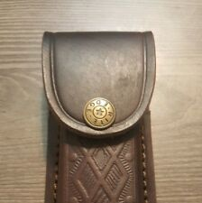 "Brown leather knife sheath 5"" - cases - second quality - will hold a Buck 110."