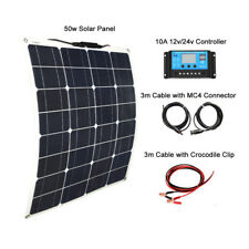 50W Solar Kit System Flexible Solar Panel 10A USB Controller Cable for RV Boat