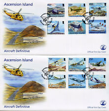 Ascension Island 2013 FDC Aircraft Definitives 12v on 2 Covers Aviation Stamps