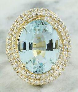 14.66 Carat Genuine Aquamarine 14K Solid Yellow Gold Luxury Diamond Ring
