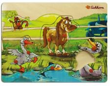Eichhorn Baby Wooden Toy Pin Puzzle Farm Horse Fowl Fish Chicken 8 parts
