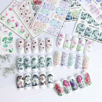 Embossed 3D Nail Art Stickers Blooming Flower Decals Tips Decoration DIY