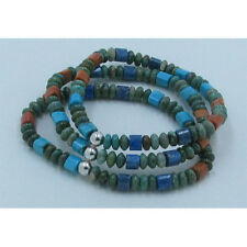 Triple Stack .925 Sterling Silver Green Turquoise Lapis Coral Stretch Bracelet