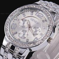 Women's Men Geneva Bling Stainless Steel Quartz Rhinestone Crystal Wrist Watch