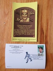TOM SEAVER Induction HALL OF FAME Plaque August 2, 1992 CANCELED Stamp METS REDS