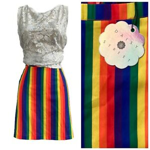 Rainbow Skirt 10 Daisy Street New Bright Stripe Retro Summer Holidays Mini Cute