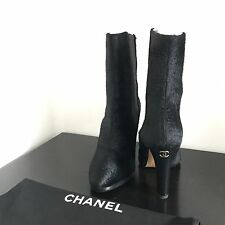 100% AUTH Chanel Black Pony Hair Gold CC High Boots Shoes $1575 Sz 36.5