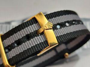 Fur ROLEX NATO james Bond Strap Armband 20 mm schwarz grau ,Gelbgold, Neu !