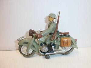 alter Hausser Elastolin Massesoldat Kradmelder mit Motorrad zu 7.5cm