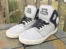 SUPRA Vaider Gray & Black Hi Tops Skateboard Skate Lace Sneakers Mens Shoes Sz 9